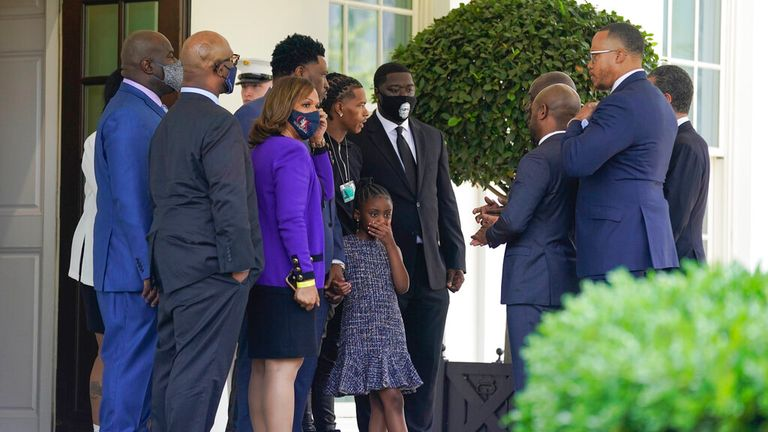 Members of the George Floyd family, including Floyd...s daughter Gianna, center, talk outside the West Wing of the White House after meeting with President Joe Biden at the White House, Tuesday, May 25, 2021, in Washington.  (AP Photo/Evan Vucci)
