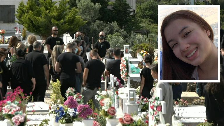 Hundreds of mourners at the funeral of Caroline Crouch (inset)