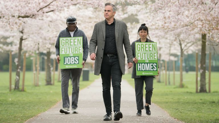 Green Party co-leader Jonathan Bartley at Battersea Park in south London to set out the party's plans for this year's local elections on May 6