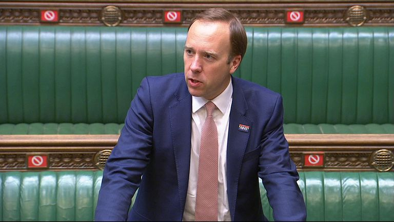 Health Secretary Matt Hancock answers an Urgent Question following Dominic Cummings' evidence to MPs