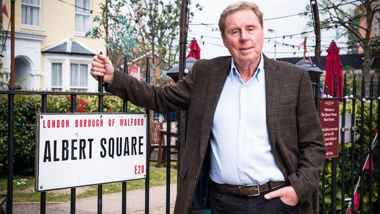 Harry Redknapp, 74, on the set of Albert Square, where he will be making a special appearance in EastEnders in the summer
