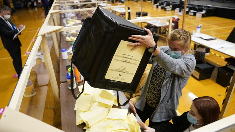 Ballot boxes are emptied at Mill House Leisure Centre in Hartlepool, for the counting of votes for the local and mayoral election and for the Hartlepool parliamentary by-election. Picture date: Thursday May 6, 2021.