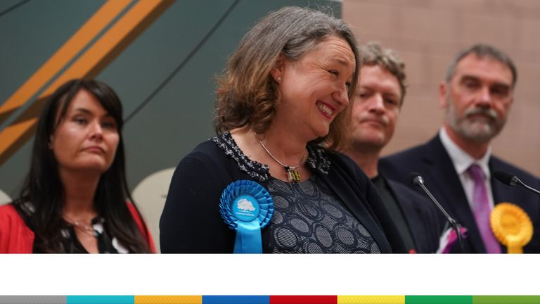 Conservative's Jill Mortimer is declared winner in the Hartlepool parliamentary by-election at Mill House Leisure Centre in Hartlepool. Picture date: Friday May 7, 2021.