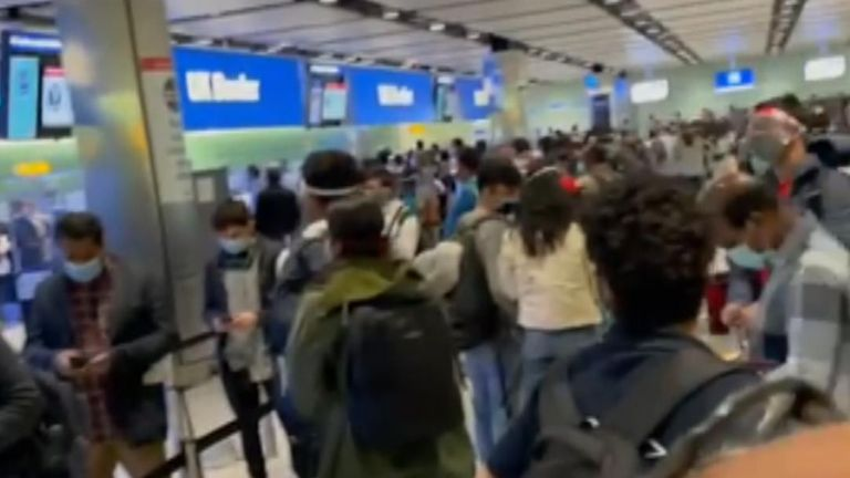 Chaos at Heathrow airport as people from green and amber countries mixed in the queues.