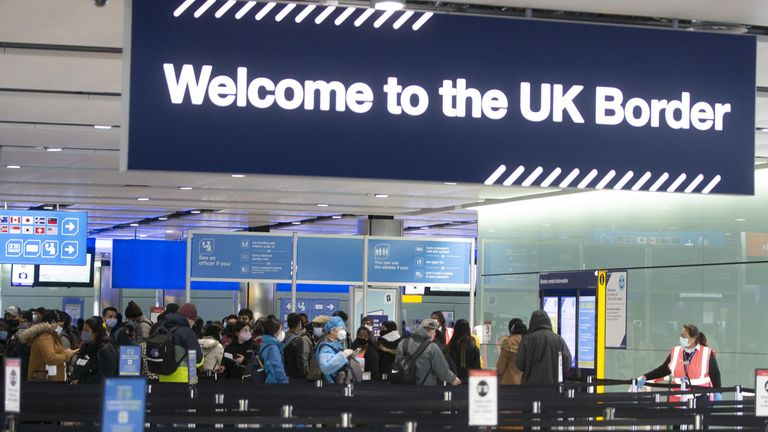 Passengers line up for passport control in the UK Border area of Terminal 2 of Heathrow Airport, London, during a visit from Labour leader Sir Keir Starmer to see the COVID-19 response. Picture date: Thursday February 11, 2020