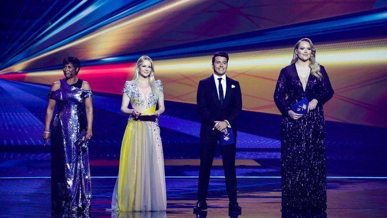 Hosting the show is Edsilia Rombley, Chantal Janzen, Jan Smit, and Nikkie de Jager. Pic: EBU/Thomas Hanses