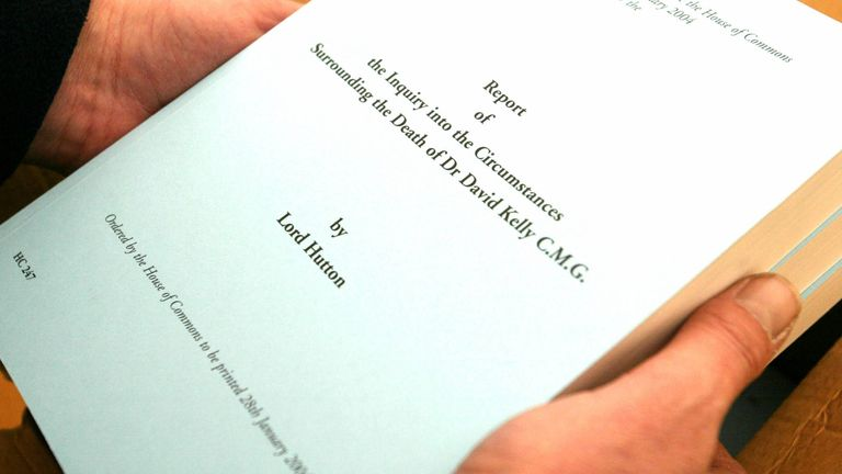 The front cover of the Hutton report into the death of British government weapons inspector Dr David Kelly is seen after its delivery to the Royal Courts of Justice in London, January 28, 2004.