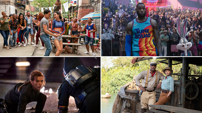 In The Heights, Space Jam, Black Widow and Jungle Cruise are among the films opening this summer. Pics: Macall Polay/Warner Bros Pictures/Jay Maidment/Frank Masi