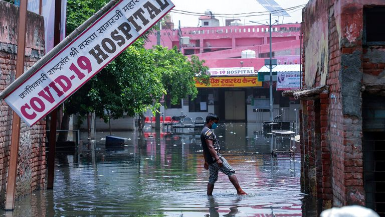 A hospital being set up at Ghaziabad, on the outskirts of New Delhi, was flooded on Sunday. Pic: AP