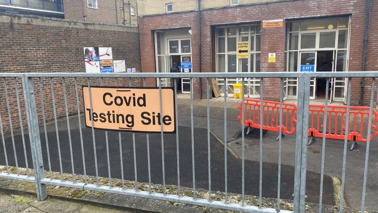 The COVID surge testing centre in Shoreditch