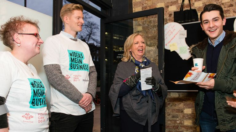 EDITORIAL USE ONLY (left to right) 'Ideas Mean Business' Ambassadors Alison Marston and Luke Johnstone with entrepreneurs Deborah Meaden and Ben Towers at the launch of Innovate UK and The Prince�s Trust #IdeasMeanBusiness initiative, at their pop-up coffee shop at Saint Espresso in London. PRESS ASSOCIATION. Photo. Picture date: Tuesday December 5, 2017.