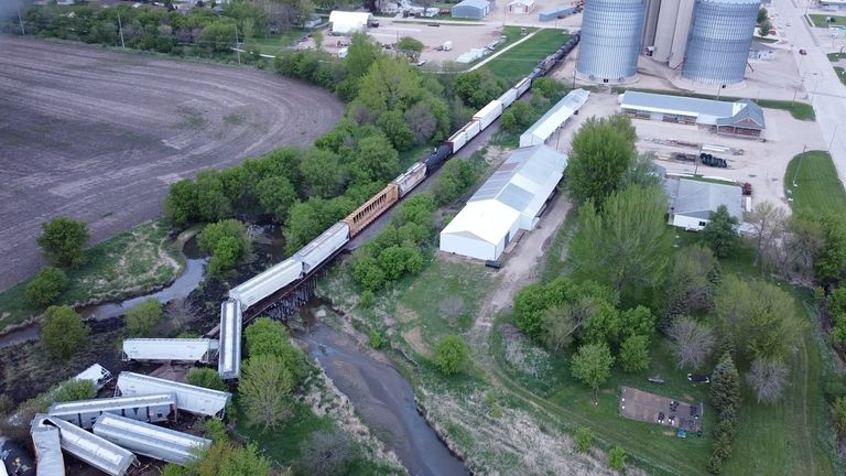 According to the local police chief, the train was carrying fertilizer and ammonium