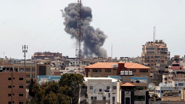 Smoke rises during an Israeli airstrike in Gaza City