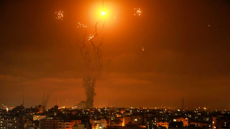 Israel's Iron Dome defence systems intercepts Hamas rockets over Gaza. Pic: AP