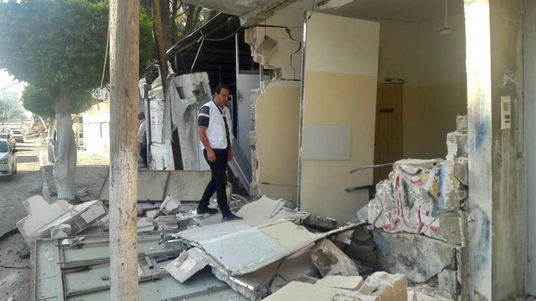 An MSF clinic in Gaza City damaged by Israeli aerial bombardment of the area around it. Pic: MSF