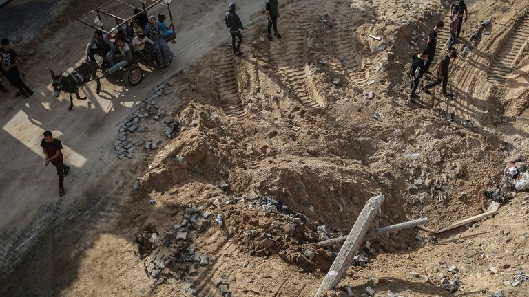Site of a bombing in Jabalia, northern Gaza. following Israeli airstrikes. Pic: AP