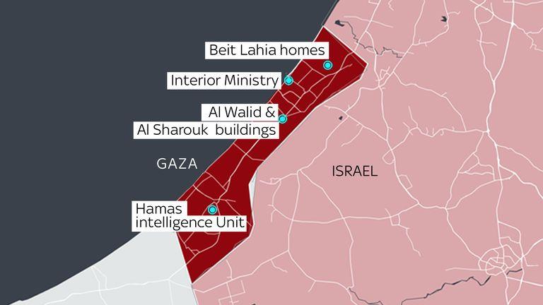 Map of Israeli targets in Gaza