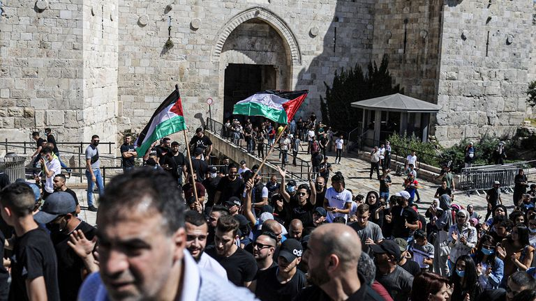 Hundreds of people gathered at the Damascus Gate during a demonstration to show solidarity with Palestinians amid increasing violence. Pic AP