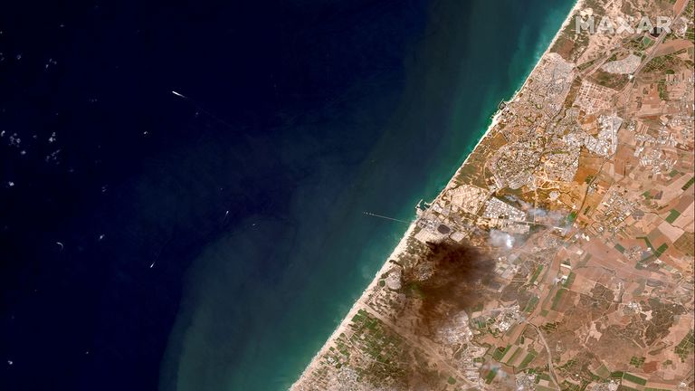 A satellite view shows an overview of southern Israel and Gaza. Pic: Maxar Technologies/Reuters
