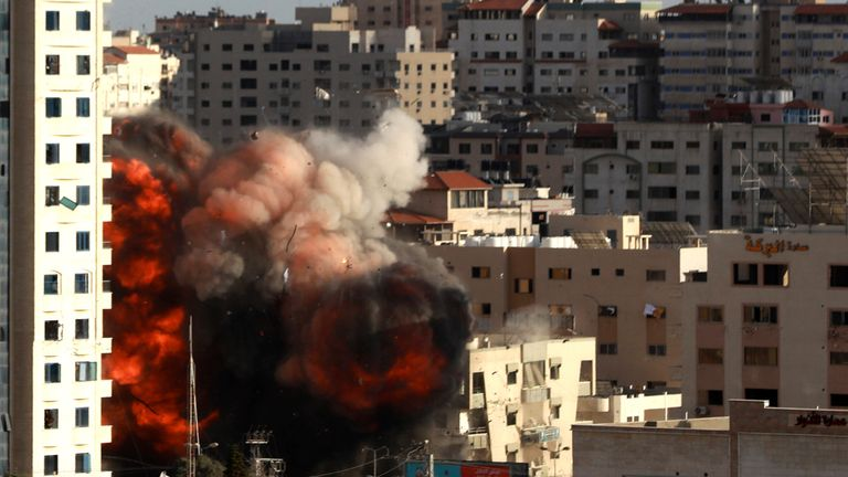 An Israeli air strike hits a building in Gaza City. Pic: AP