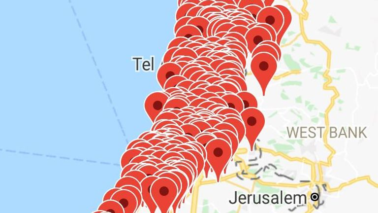 An Israeli app that monitors rocket fire shows the extent of the attack in Tel-Aviv