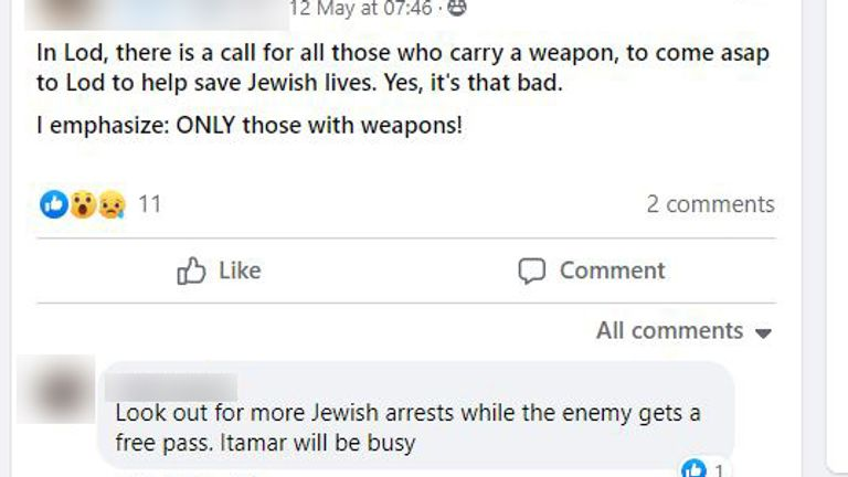 In an English-language Facebook chat, calls were made for those with weapons to go to the city of Lod