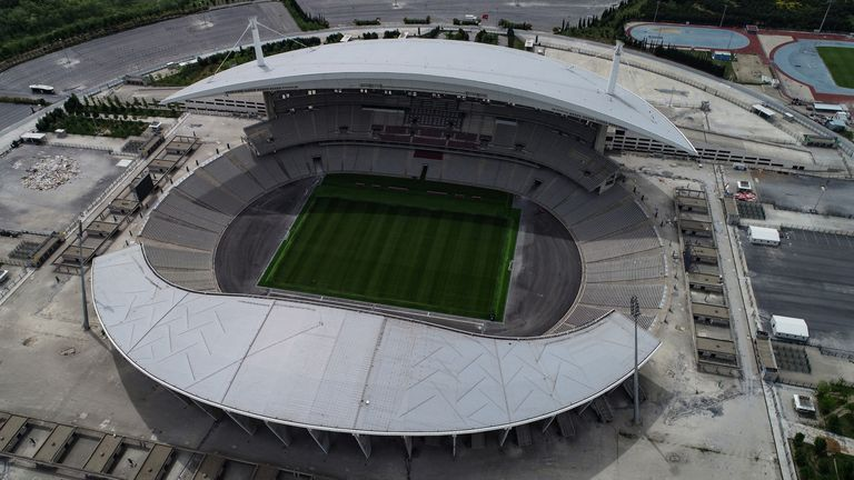 An aerial view of the Ataturk Olympic Stadium in Istanbul, Turkey