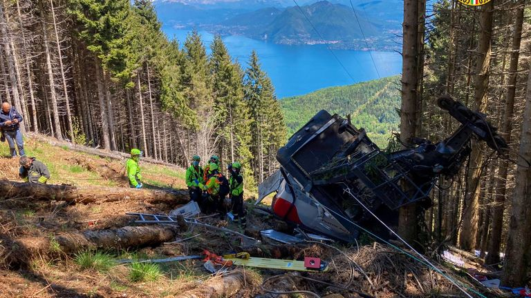The cable car fell at one of the highest points. Pic: National Alpine and Speleological Rescue Corps