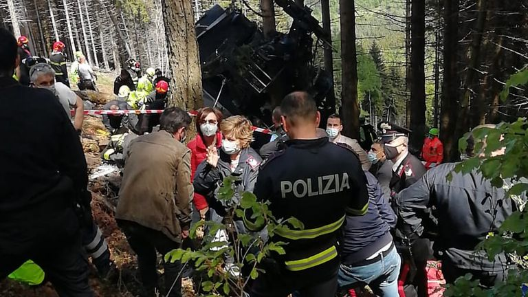 The cable car crashed in a heavily wooded area. Pic: National Alpine and Speleological Rescue Corps
