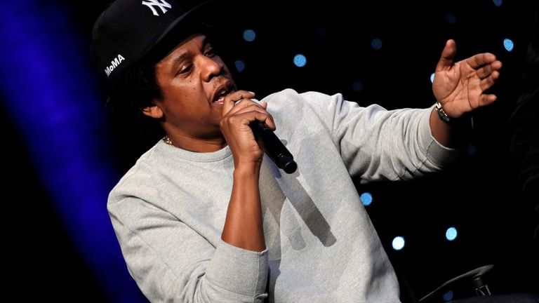 """Shawn """"Jay-Z"""" Carter, a founding partner of Reform Alliance, a newly formed organization to reform the U.S. criminal justice system, speaks during the Reform Alliance launch event in New York City, New York., U.S., January 23, 2019."""