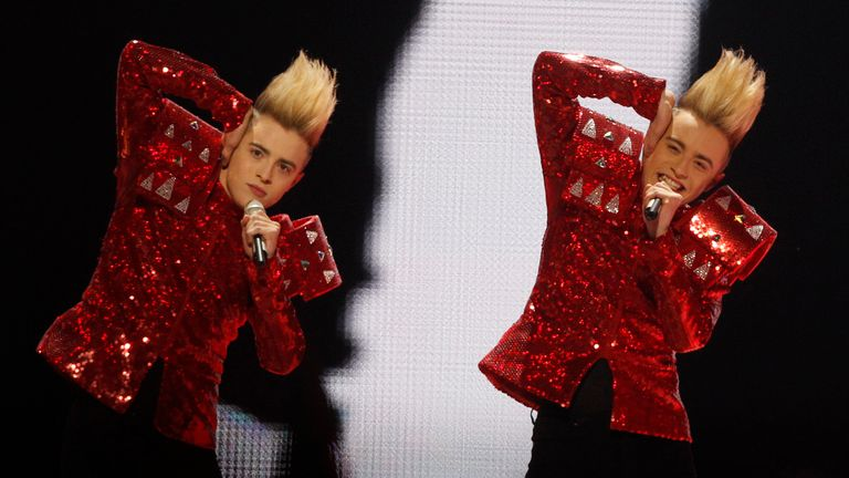 Jedward during the final of the Eurovision Song Contest 2011 in Duesseldorf, Germany, Saturday, May 14, 2011. (AP Photo/Frank Augstein)