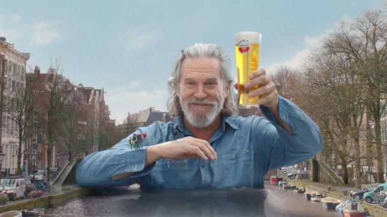 Jeff Bridges starred as a human bridge in an Amstel advert. Pic: Heineken/ Amstel