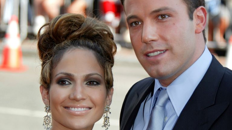 Jennifer Lopez and Ben Affleck at the premier of Gigli in 2003