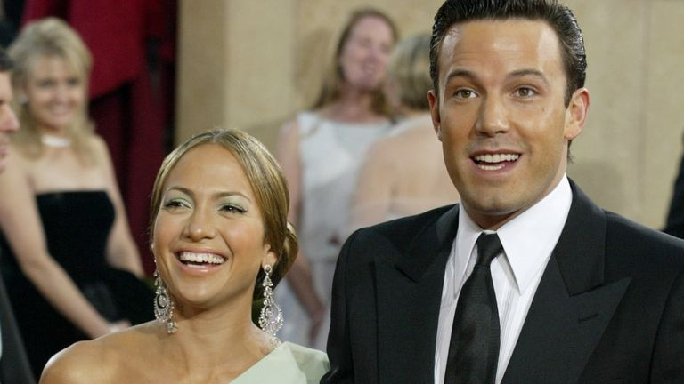 Jennifer Lopez and Ben Affleck at the 75th Oscars in 2003