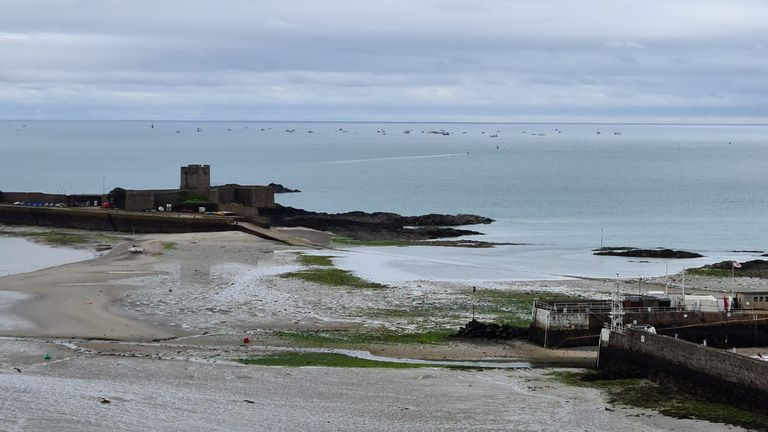 The fleet of French fishing boats were seen leaving Jersey waters after lunchtime. Pic: Diana Constable