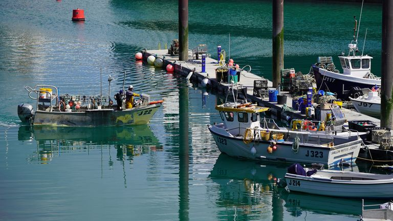 A fishing boat in the harbour at St Helier