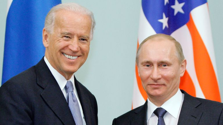 Joe Biden met with Vladimir Putin in Moscow in 2011 when he was vice president and Mr Putin was Russian prime minister. Pic: AP