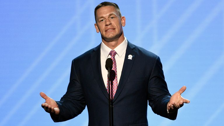 John Cena presents the Jimmy V perseverance award at the ESPYS at the Microsoft Theater on Wednesday, July 12, 2017, in Los Angeles. (Photo by Chris Pizzello/Invision/AP)