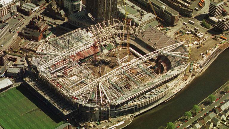 "Under construction the ""Millennium Stadium' in the centre of Cardiff 25/4/1999"