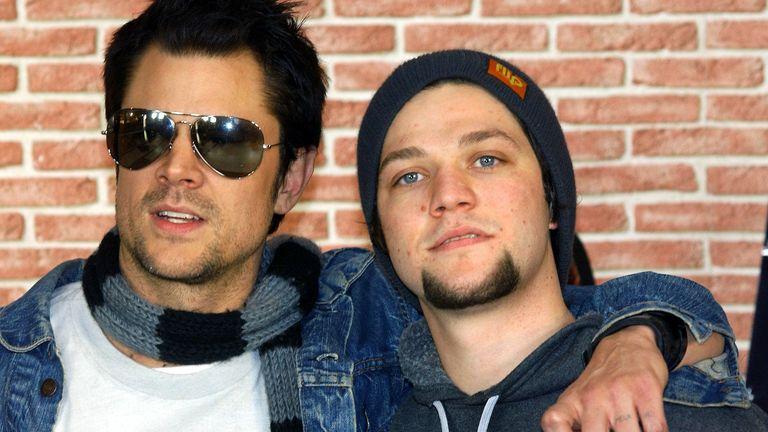 Johnny Knoxville and Bam Margera pictured here in 2003. Pic Marcel Mettelsiefen/picture-alliance/dpa/AP Images
