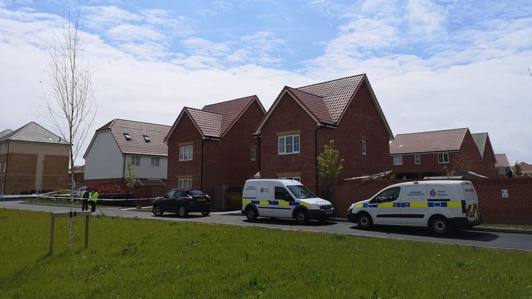 Police investigating the murder of PCSO Julia James search a property in Aylesham, Kent