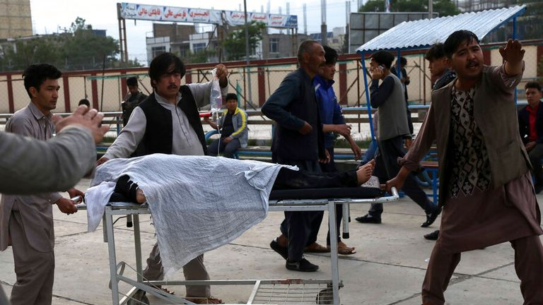 One of the injured students arriving at hospital. Pic: AP