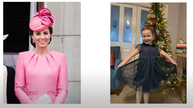 The Duchess of Cambridge promises to wear a pink dress when she finally meets Mila Sneddon separated from her father due to shielding in lockdown. Mila has leukaemia. Pic:  The Duke and Duchess of Cambridge, YouTube