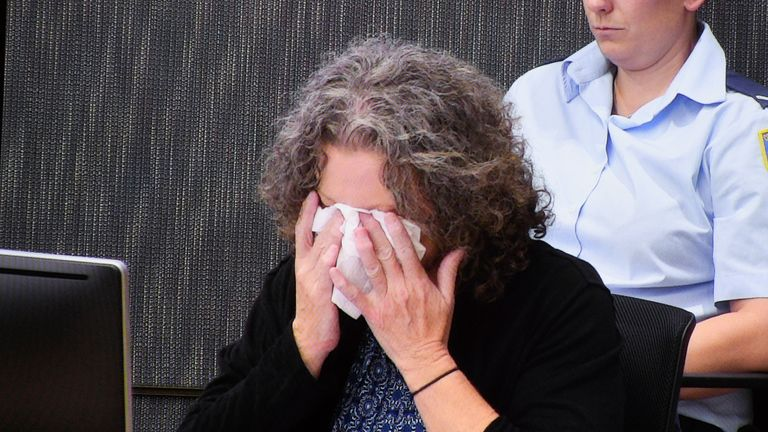 Folbigg wipes tears away during a question about the deaths of her four children during her 2019 appeal. Pic AP