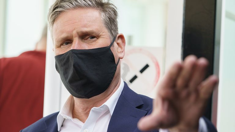 Labour leader Sir Keir Starmer while on a campaign visit to tech firm Qioptiq in St Asaph, North Wales. Picture date: Tuesday April 4, 2021.
