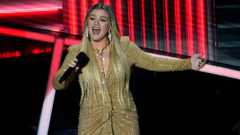 Host Kelly Clarkson performs at the Billboard Music Awards on Wednesday, Oct. 14, 2020, at the Dolby Theatre in Los Angeles. (AP Photo/Chris Pizzello)