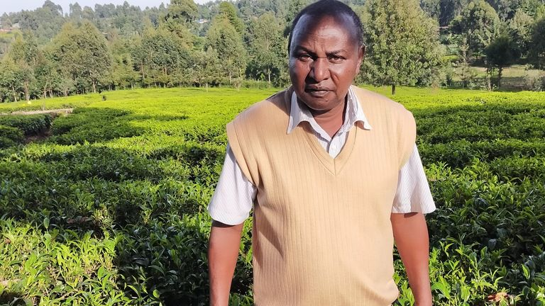 Tea farmer Richard Koskei, from Kericho, in Kenya's Western Highlands, says seasons there have changed
