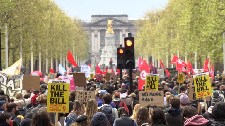 Demonstrators walk down the Mall during a 'Kill The Bill' protest