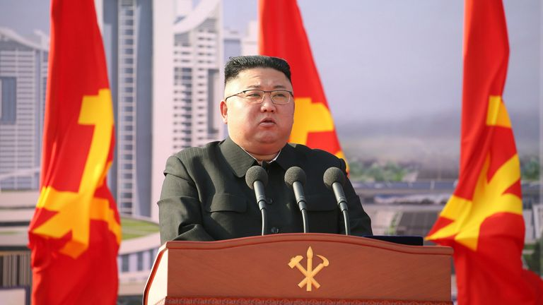 North Korean leader Kim Jong Un attends a ceremony to inaugurate the start of construction on the first phase of a project to eventually build 50,000 new apartments, in Pyongyang, North Korea, in this photo released March 24, 2021 by North Korea's Korean Central News Agency KCNA