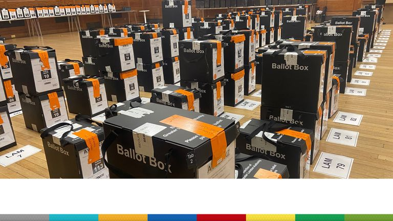 Ballot boxes are organised at Lambeth Town Hall